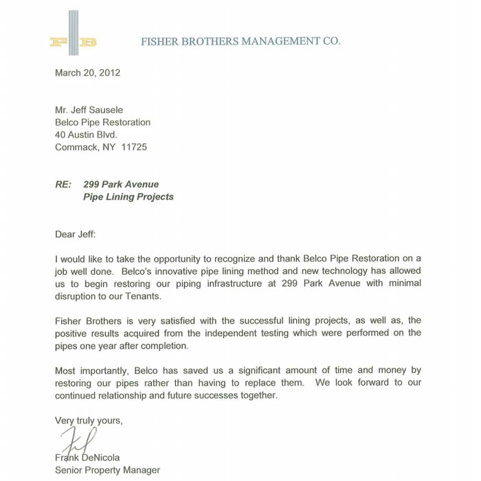 Fisher Brothers Management Co Letter Of Recommendation